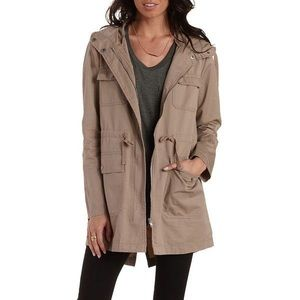 Charlotte Russe Tan Hooded Trench Coat